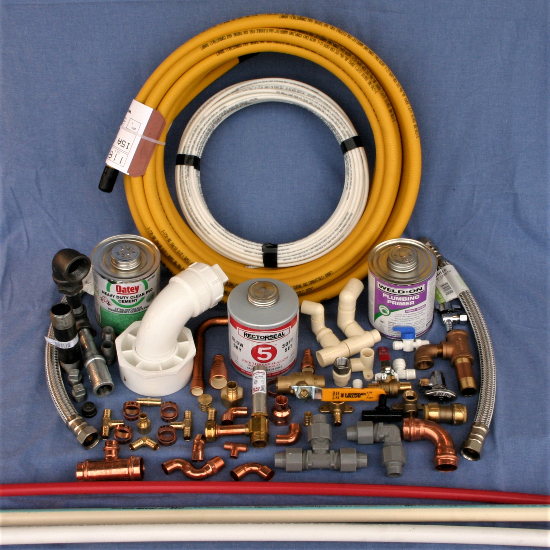 An assortment of plumbing valves and fittings.